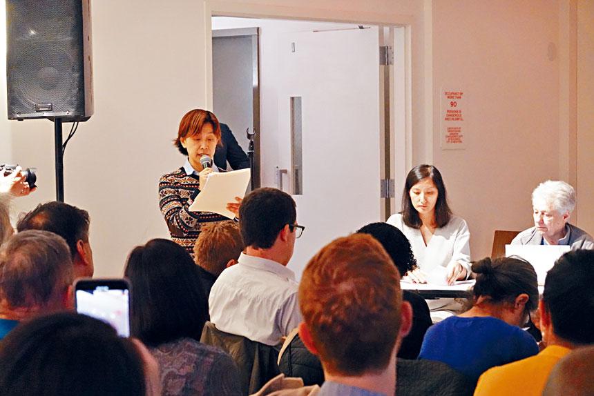 聯成公所主席助理蔡孟玲在會上發言。