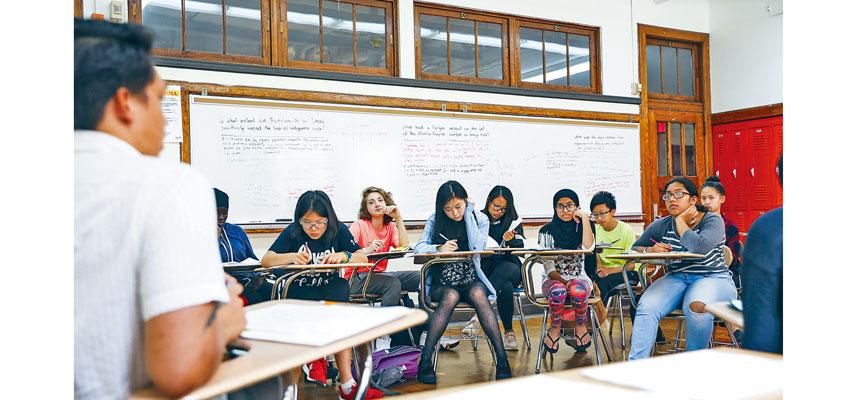 白思豪著力改革特殊高中的收生制度,被批適得其反。圖為布碌崙科技高中。Marian Carrasquero/紐約時報