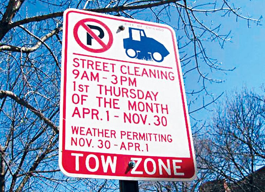 4月1日開始是芝市的街道清潔工作啟動季節,駕車人士要注意禁止停車的告示。梁敏育攝
