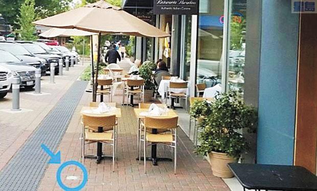 當局放寬戶外餐飲規範,圖中圓圈標誌即為戶外咖啡館可以延伸至人行道的範圍。市交通局