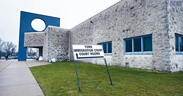 ■圖為賓夕法尼亞州約克縣的移民法庭外貌。 YDR圖片