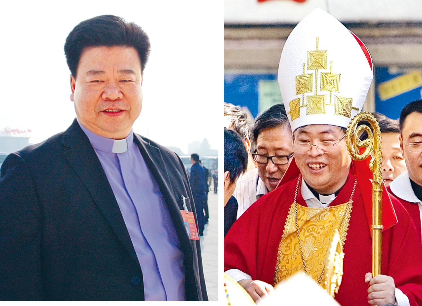 天主教愛國會副主席黃炳章(左)及北京主教李山(右)。資料圖片