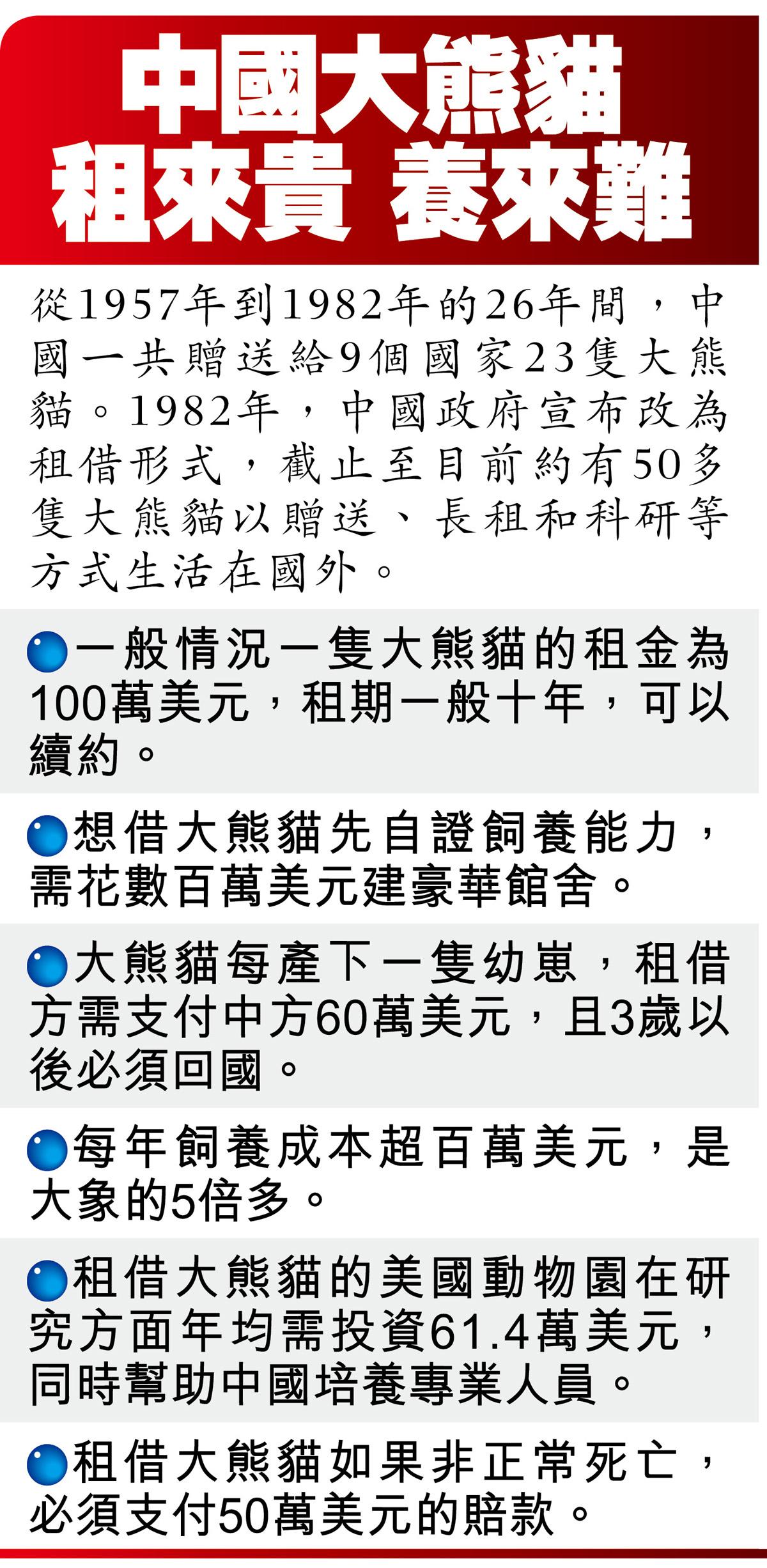中國大熊貓租來貴 養來難