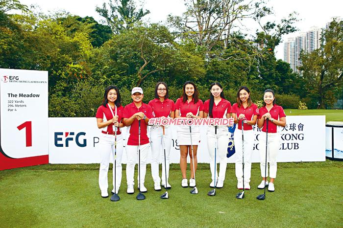 香港女子高爾夫球新星(左起)胡雅媛、李佳潁、陳婥兒、張穎怡、丁慧中、李沅玥及何妙兒。郭晉朗攝