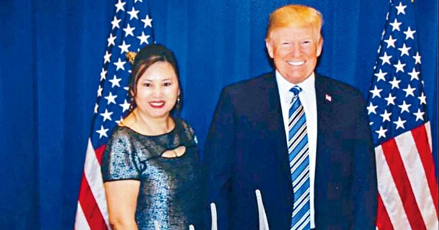 在楊蒞的臉書上,有她與總統特朗普的合影。    臉書圖片