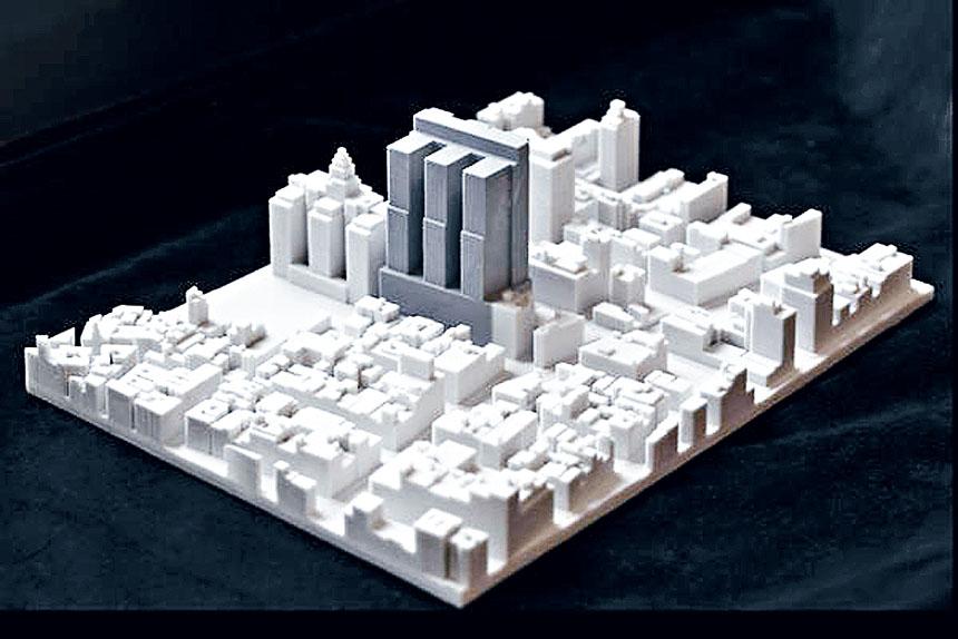 有建築師把華埠監獄建成後模型製成,明顯看到監獄高度與四周環境格格不入。