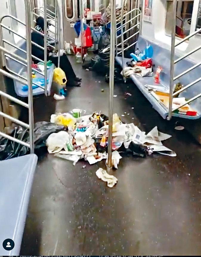 地鐵車廂內遍布垃圾,環境十分噁心。 視頻截圖