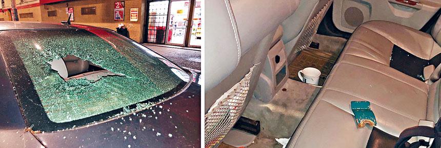 從照片可見,汽車玻璃嚴重損毀。 推特圖片