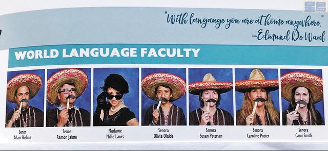 南加Escondido一高中年刊,六位西語老師戴墨西哥帽手持假鬍鬚拍照,涉歧視拉丁裔和墨裔惹議。推特照片