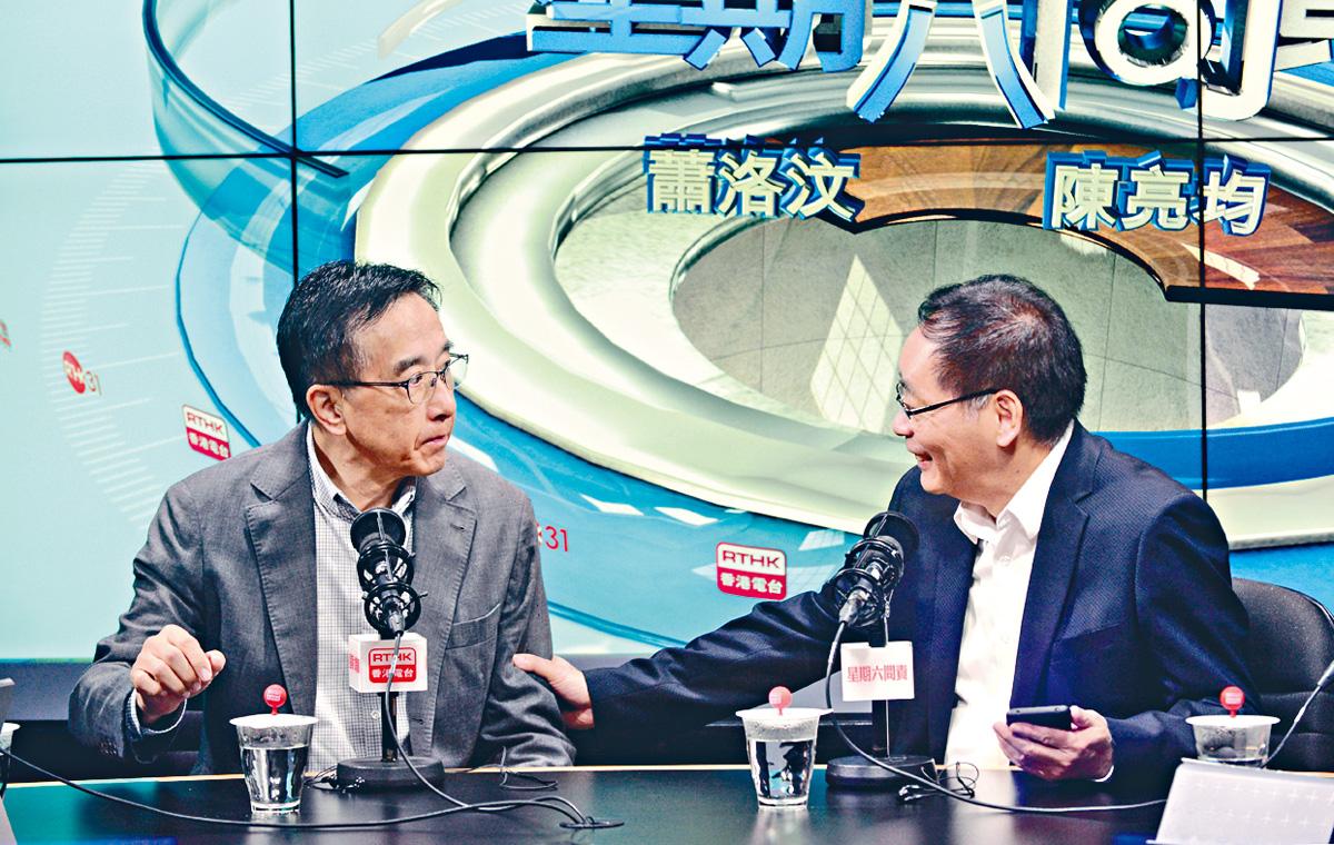 田北俊(左)認為,民主派到美國游說,是「好心做壞事」。黃頌偉攝