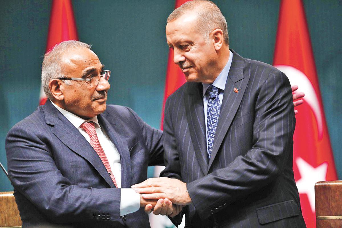 埃爾多安(右)和邁赫迪召開聯合記者會。網上圖片