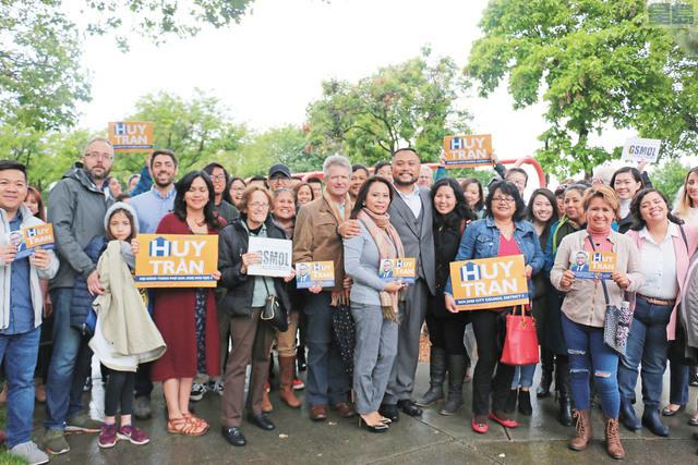 陳輝正式啟動競選活動,角逐聖荷西市第四區市議員席位。記者彭詩喬攝