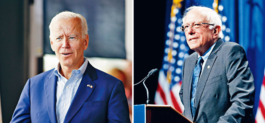 民主黨初選首輪辯論的重頭戲,將是前副總統拜登(左)與2016年民主黨初選二號人物桑德斯(右)的對陣。美聯社