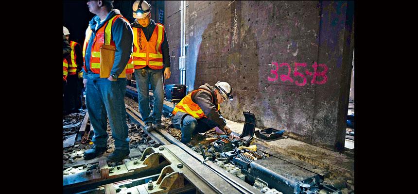 負責工程的公司表示,L車維修進度理想。Kevin Hagen/紐約時報