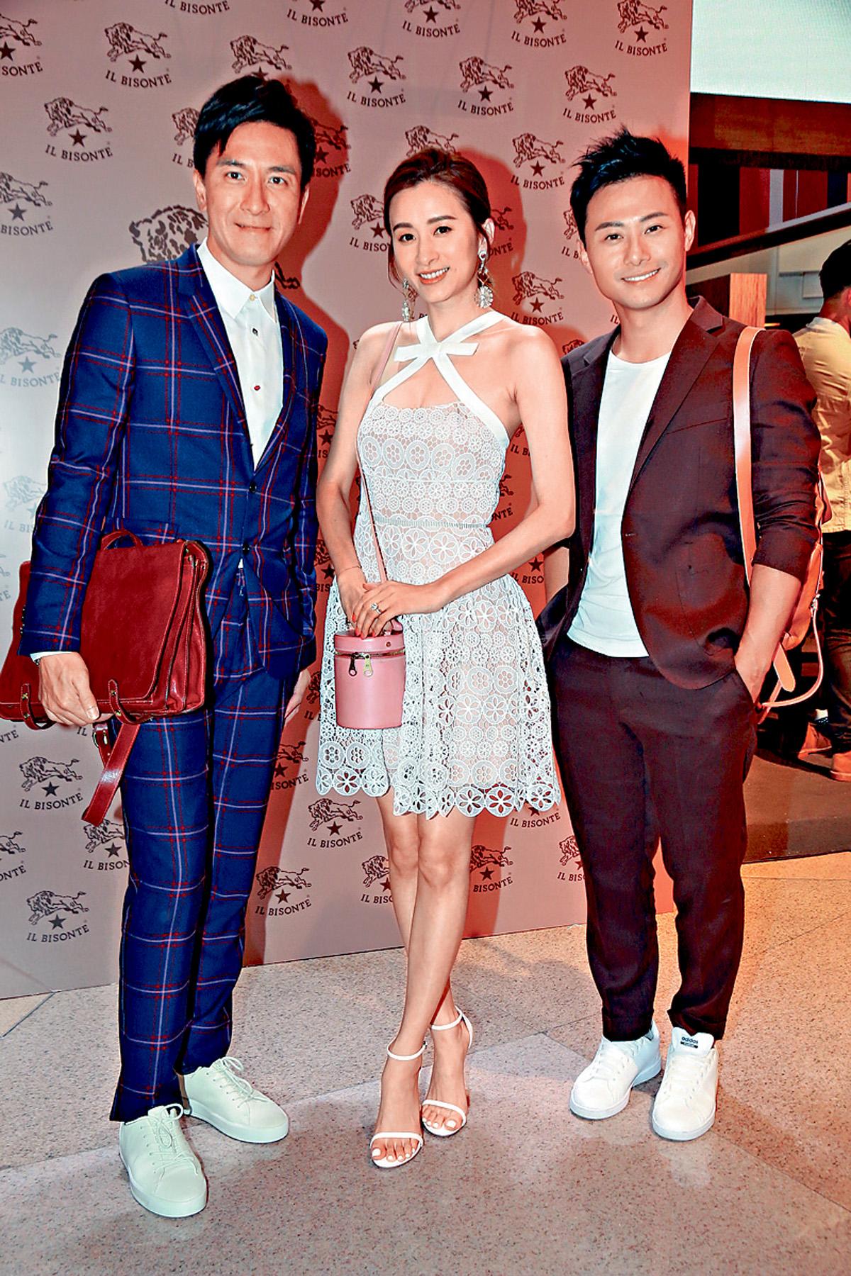 ■(左起)馬國明、沈卓盈與楊潮凱,聯袂出席品牌活動。