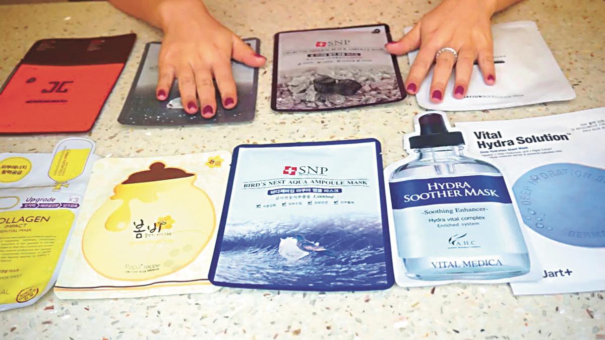韓國的各大品牌面膜產品多受中國消費者喜愛。資料圖片