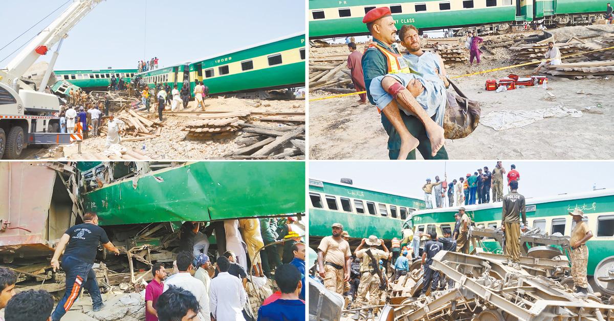 巴基斯坦客運列車撞上貨運列車傷亡慘重,警方派出重型機械救人。美聯社/法新社