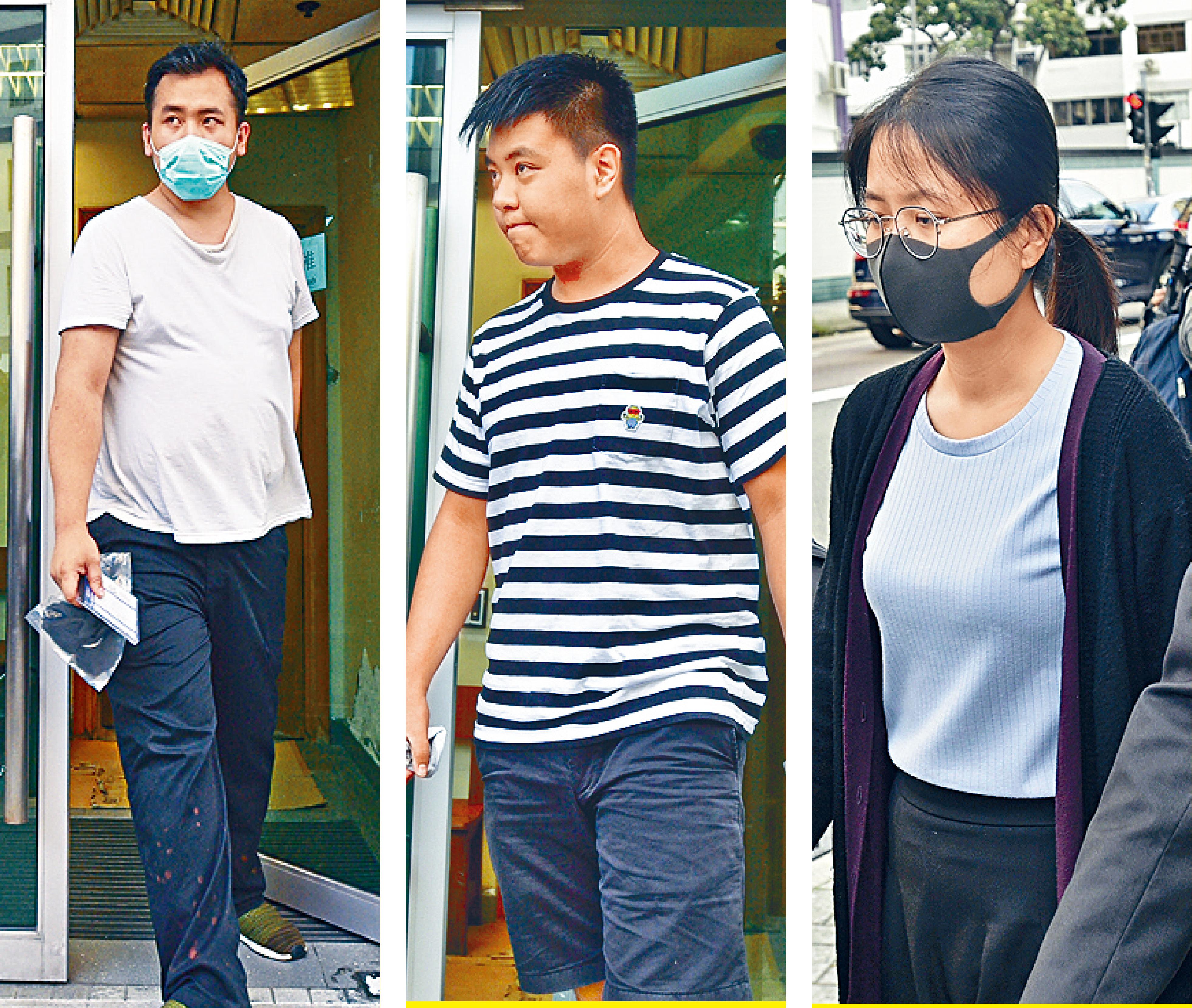 三名被告(左起)分別是廚師黃子隆、大專學生吳睿哲和教師蘇瑋善。盧江球攝