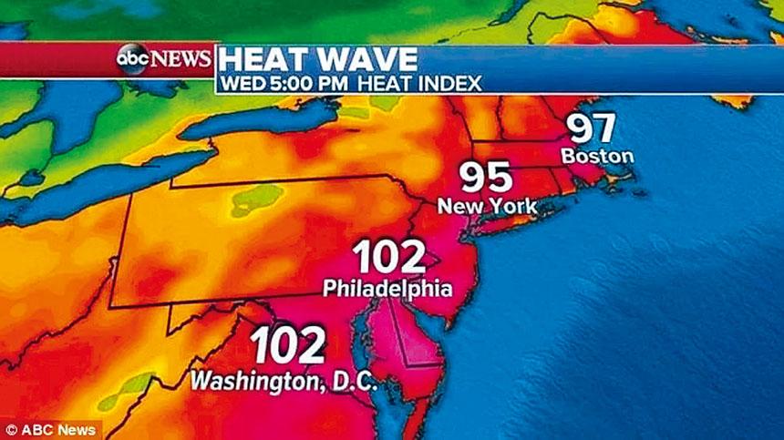 超高溫熱浪將於本周末席捲紐約。ABC News截圖