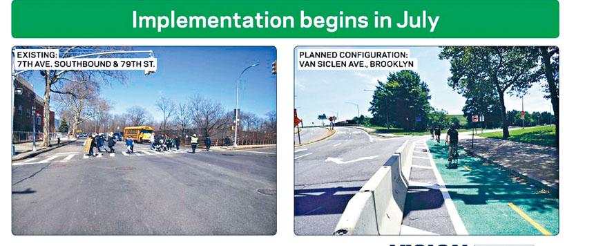 灣背脊7大道在65街至84街之間的部分將開始修建單車到。交通局