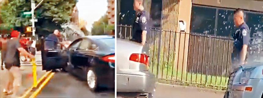 從視頻可見,警員在被潑水期間離開。影片截圖