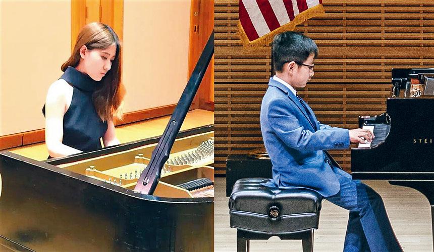 李潤(左)、任夏可(右)在彈奏中。李潤提供