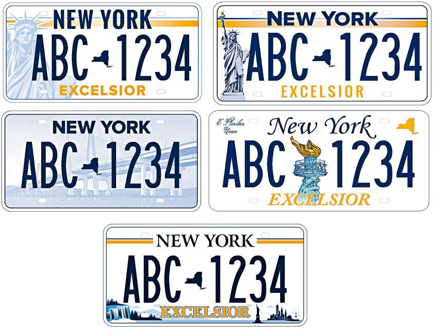 紐約州推出5款新車牌進行投票。 州府圖片