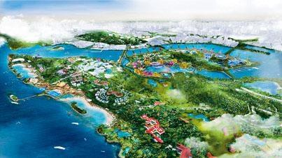 新加坡政府計畫一起發展聖淘沙與布拉尼島的繪圖。