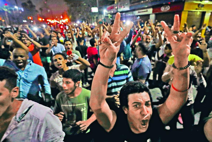 示威者上周六在開羅市中心集會。 路透社