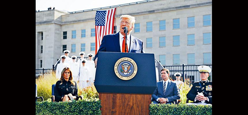 特朗普當天在五角大樓出席悼念儀式並發表強硬講話,稱要擴大政府對追捕恐怖分子及他們資金來源的能力,更有效針對恐怖主義組織。  美聯社