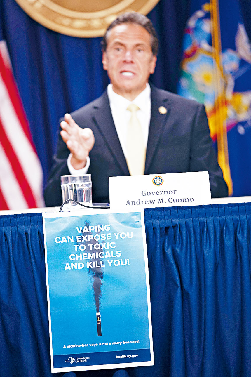 柯謨將要求所有電子煙銷售點貼出警告海報。美聯社