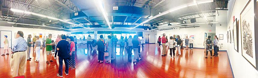 「遊於藝」美京華人活動中心書畫藝術社藝展,開幕茶會當日貴賓雲集。