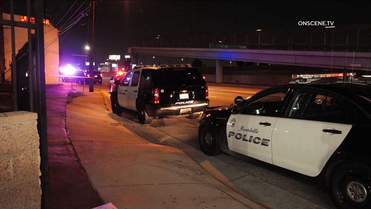 蒙地貝羅20日晚間發生車對車槍戰,兩名槍手在逃。 KTLA 5
