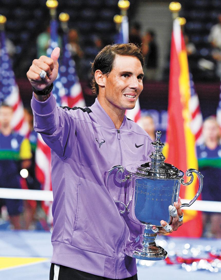 納達爾職業生涯第四次奪得美網男單冠軍,大滿貫數量已經到達19個。美聯社
