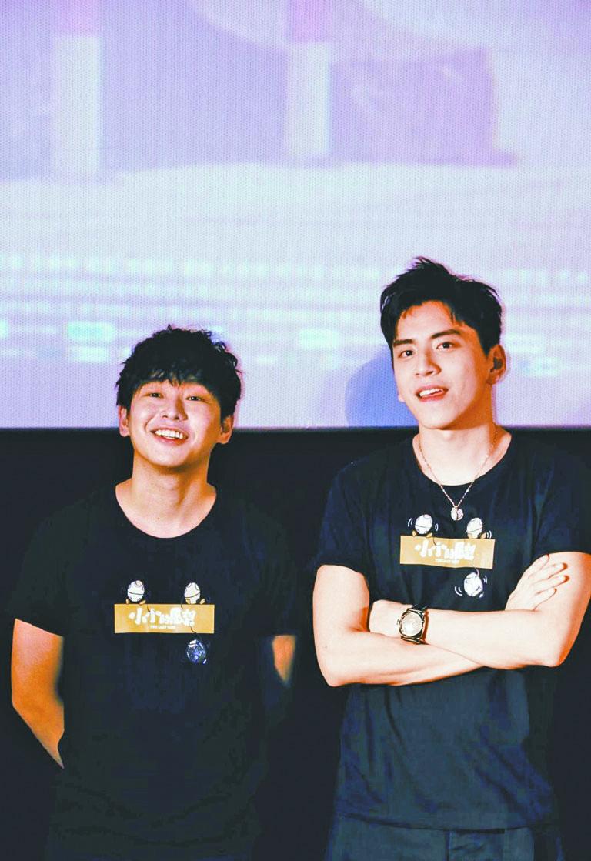 彭昱暢(左)此前與王大陸一起在電影院進行路演宣傳。 網上圖片