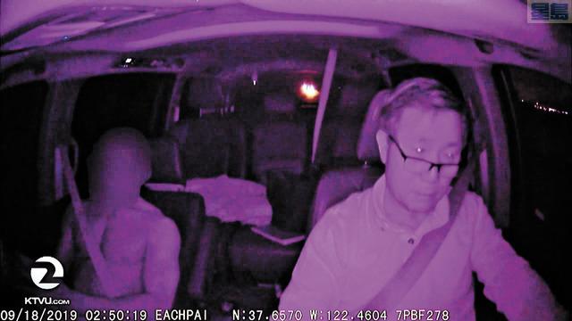 韓裔網的司機Dong Hwang把行車記錄儀視頻與電視台分享,可見一名乘客脫去上衣。KTVU