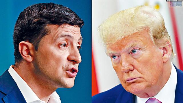 ■總統特朗普22日改變口風,承認在電話中與烏克蘭總統澤倫斯基(左)提及前副總統拜登。    合併圖片