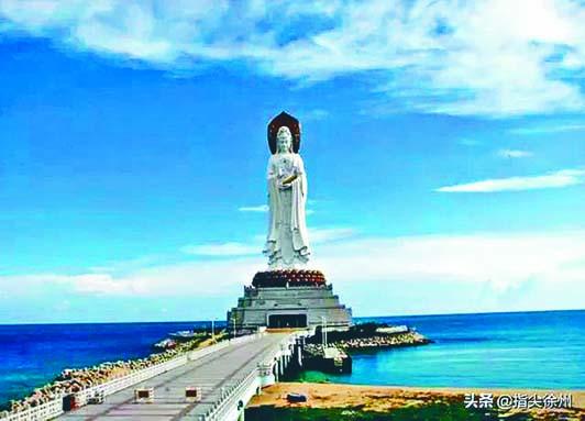 位於海南三亞南山寺的海上觀音,為當今全世界最高的觀音像,高一百零八米。