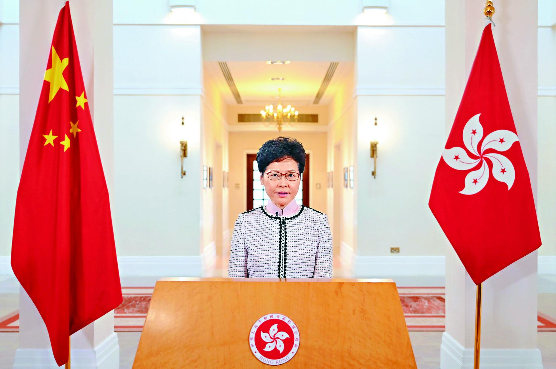 行政長官林鄭月娥昨日透過視像,向市民發表任內第三份施政報告。