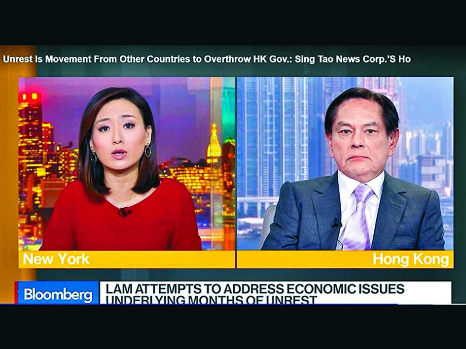 何柱國接受彭博電視訪問,指香港出現暴亂,是因為外國勢力試圖推翻香港政府。