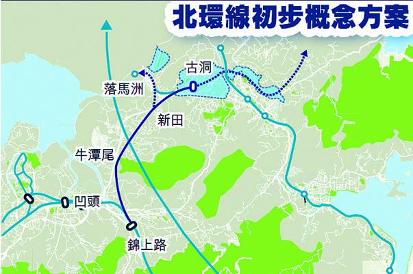 北環綫落成,將有助提高鐵路沿綫用地的地 積比。
