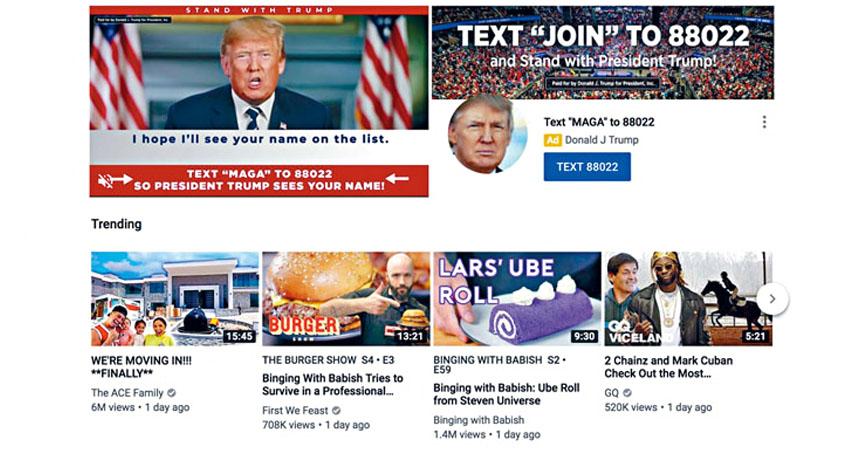 特朗普選營在網上投放大量廣告,遠超民主黨對手的預算支出。    網上圖片