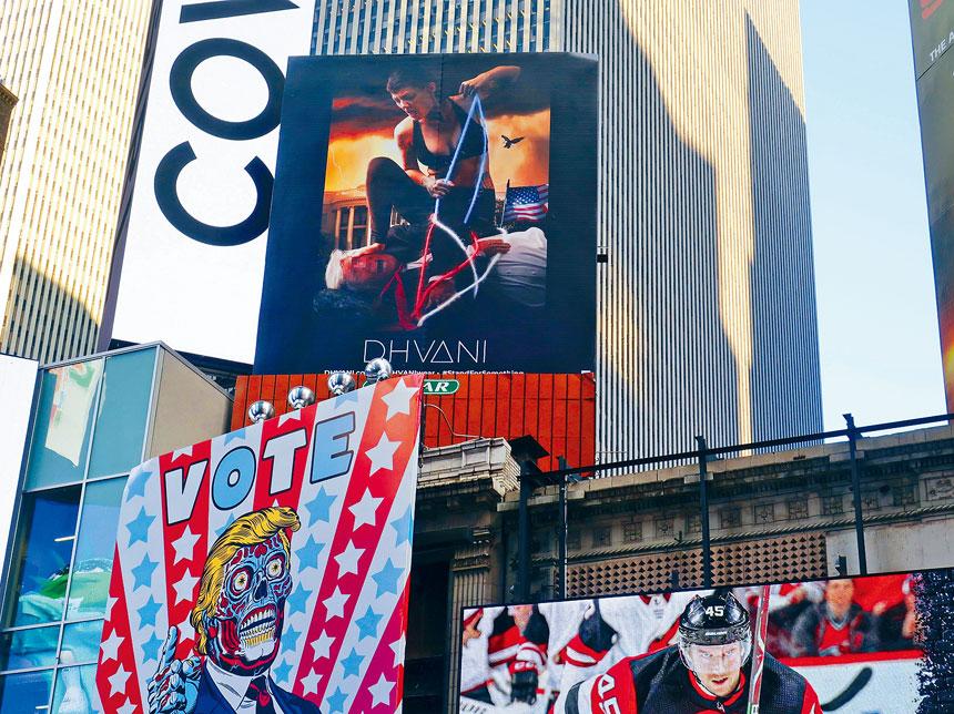 Dhvani在時報廣場的大型廣告牌,引起了外界關注。美聯社