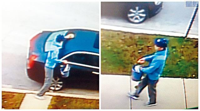 ■華裔男子胡科涉嫌以糞便塗抹停泊在路旁汽車的門及車門手把。    電視屏幕截圖