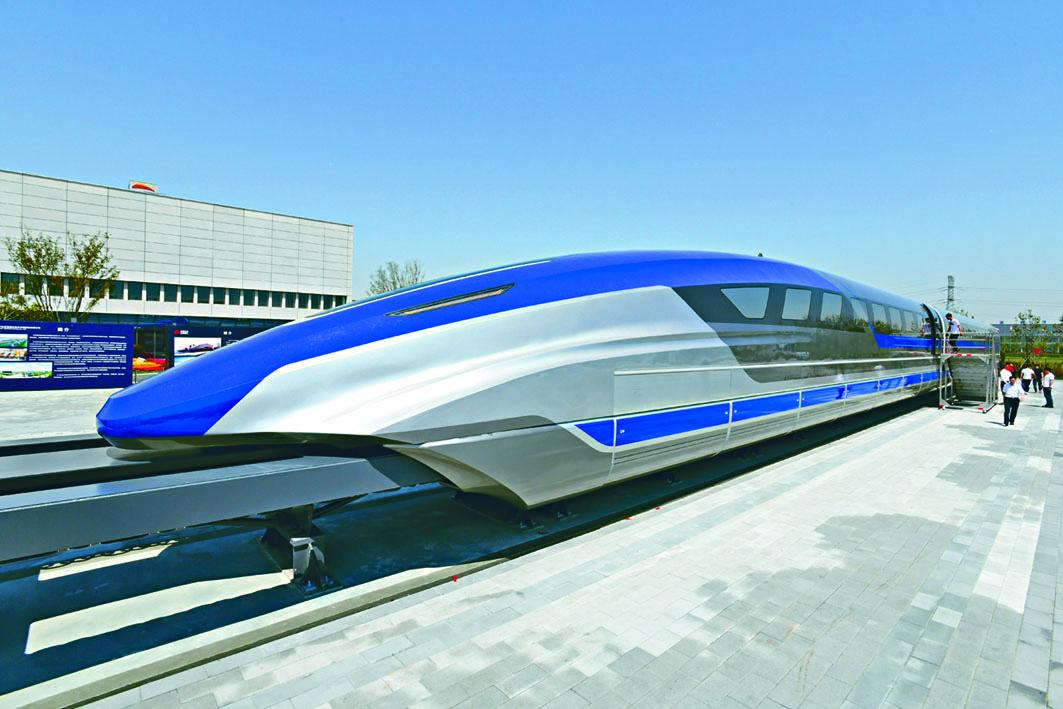 時速六百公里的高速磁浮試驗樣車在青島下綫。