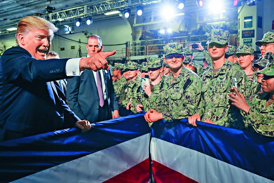 特朗普六月在日本橫須賀基地向美軍官兵發表 講話。 資料圖片
