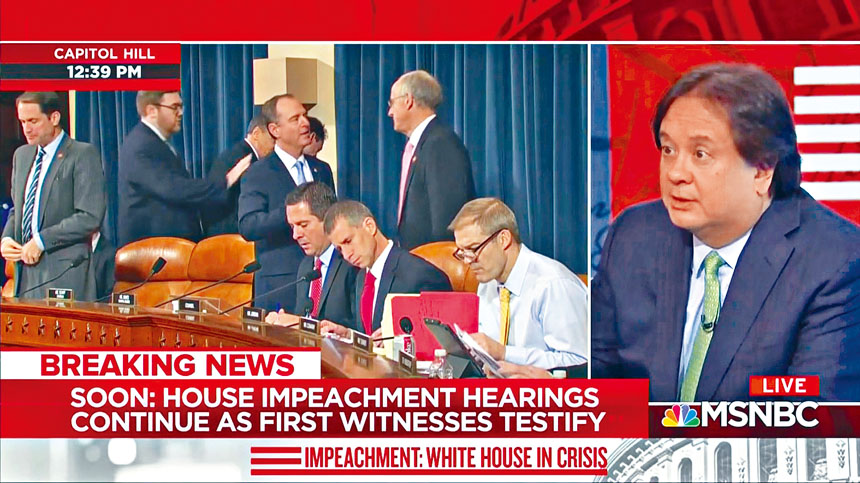 首場彈劾調查公開聽證會,全美3大電視台及其有線頻道都鋪天蓋地報道聽證會,期間更幾乎沒有播放廣告。 電視屏幕截圖
