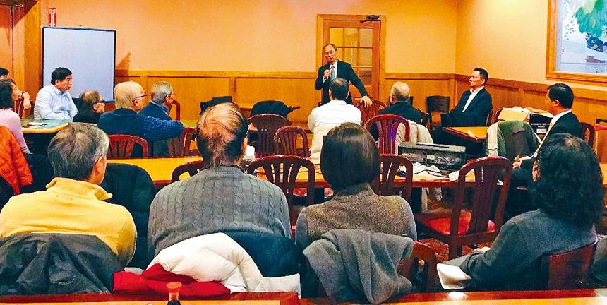 吳新興在紐約上州羅徹斯特地區與僑界舉行僑務座談會。