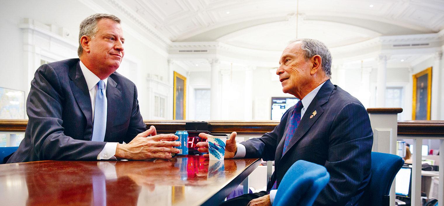 白思豪批評彭博,指他絕不應該得到民主黨總統提名;圖為兩人於2013年的合照。Damon Winter/紐約時報