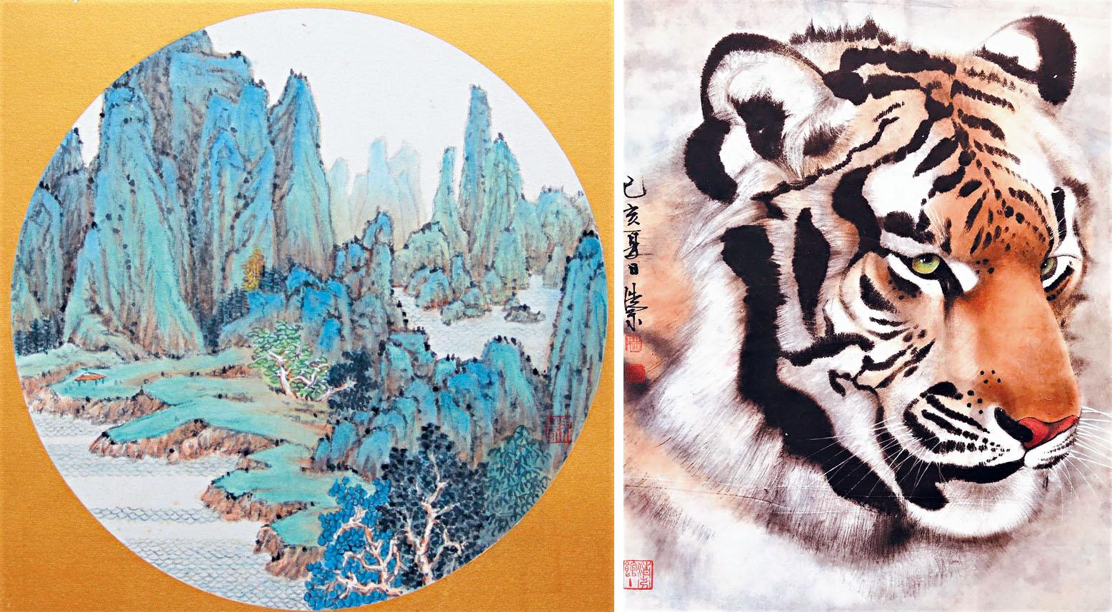 (左圖)王果春作品《溪山圖》;譚嘉陵提供 (右圖)林浩宗作品《不怒而威》。